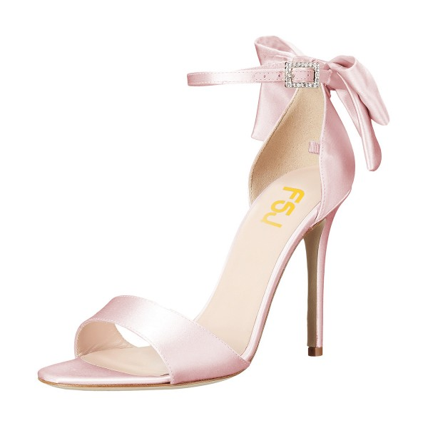 Women's Pink Ankle Strap Bow Stiletto Heel Bridal Sandals image 4