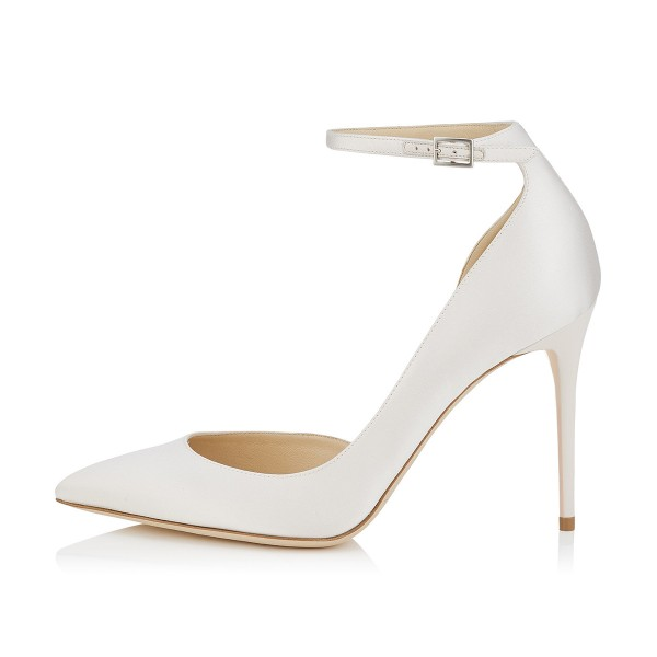 Women's White Ankle Strap Heels Dorsay Stiletto Heel Pumps image 4