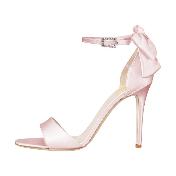 Women's Pink Ankle Strap Bow Stiletto Heel Bridal Sandals image 8