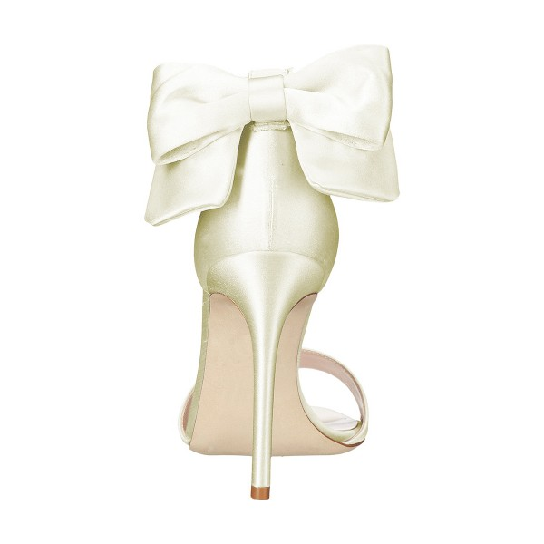 Women's Champagne Ankle Strap Bow Stiletto Heel Bridal Sandals image 3