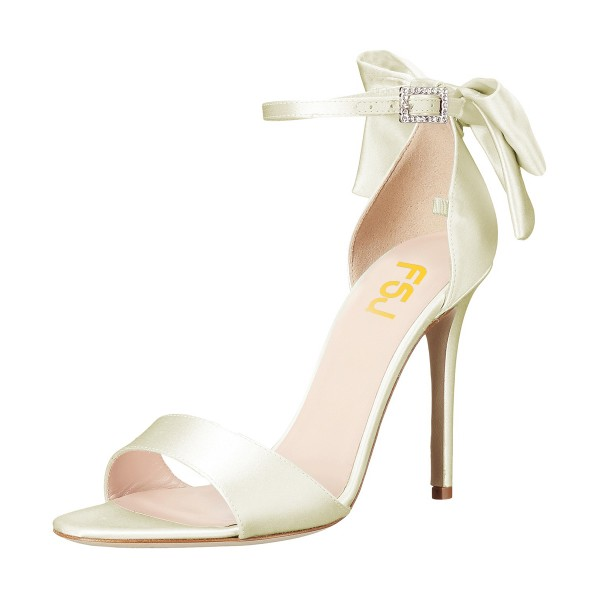 Women's Champagne Ankle Strap Bow Stiletto Heel Bridal Sandals image 1