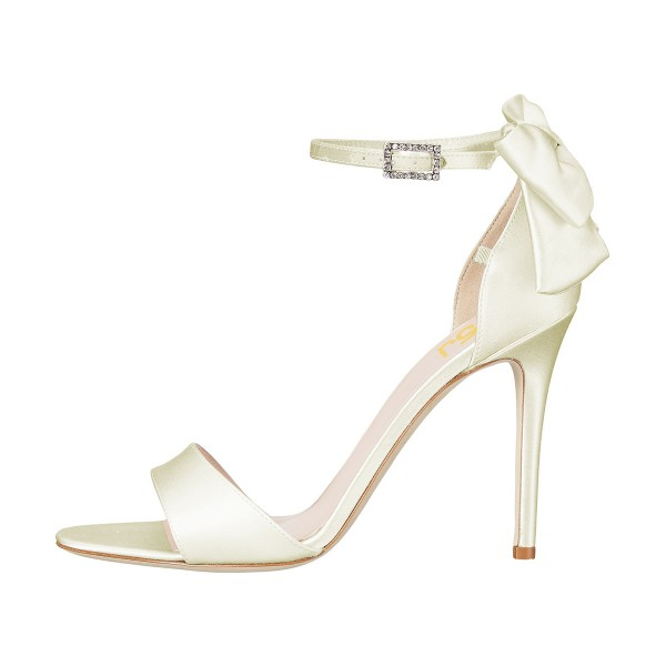 Women's Champagne Ankle Strap Bow Stiletto Heel Bridal Sandals image 4