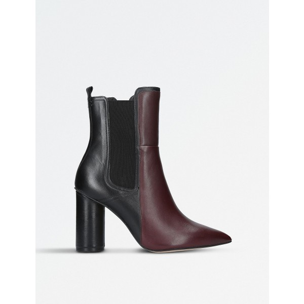 Maroon and Black Chunky Heel Boots Pointy Toe Ankle Chelsea Boots image 4