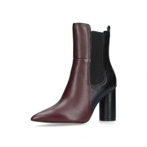 Maroon and Black Chunky Heel Boots Pointy Toe Ankle Chelsea Boots image 3