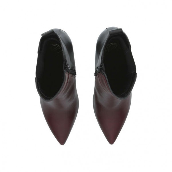 Maroon and Black Chunky Heel Boots Pointy Toe Ankle Chelsea Boots image 5