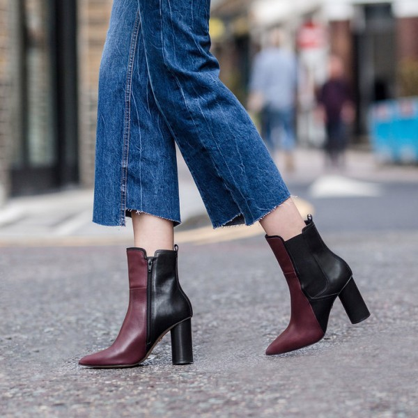 Maroon and Black Chunky Heel Boots Pointy Toe Ankle Chelsea Boots image 1