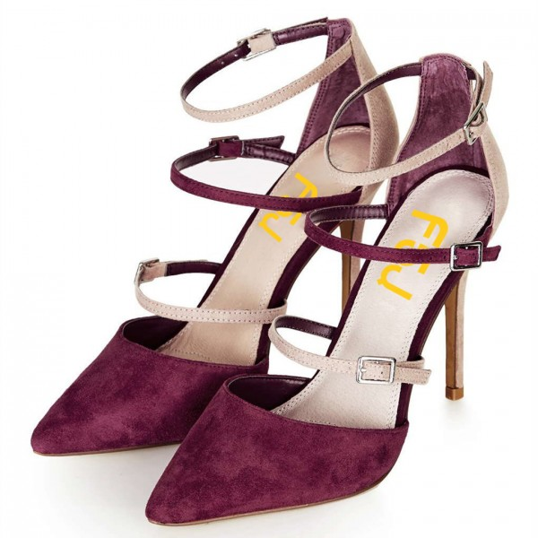 Maroon and Nude Pointy Toe Stiletto Heels Buckles Strappy Pumps image 4