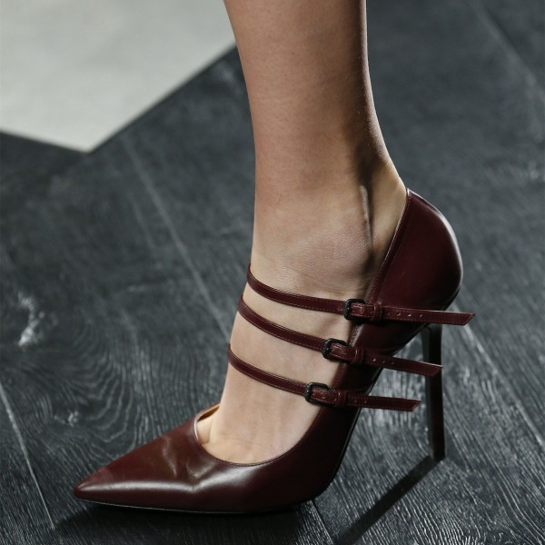 Maroon Buckles Mary Jane Pumps Pointy Toe Stilettos Office Heel Pumps image 1