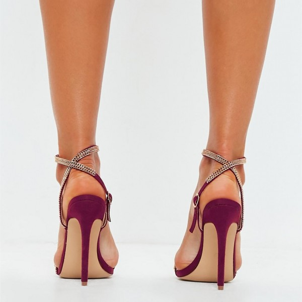 Maroon Chain Evening Shoes Open Toe Stiletto Heels Slingback Sandals image 3