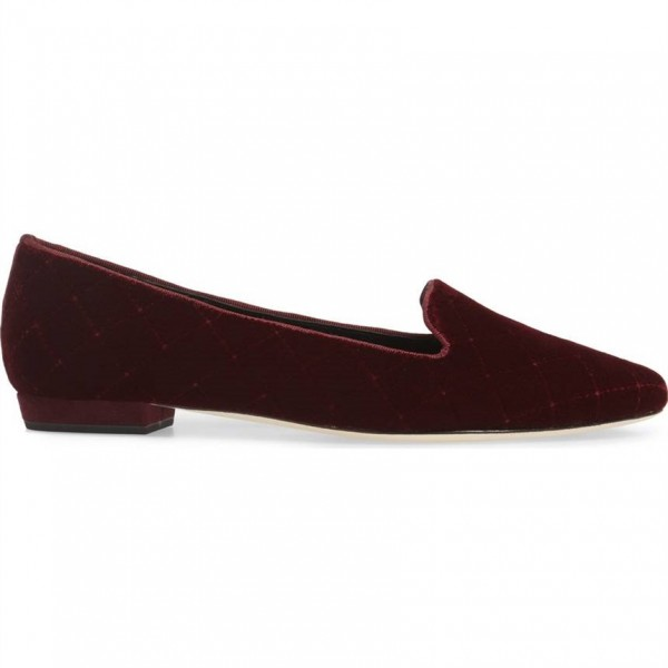 Maroon Comfortable Flats Almond Toe Velvet Loafers for Women image 2