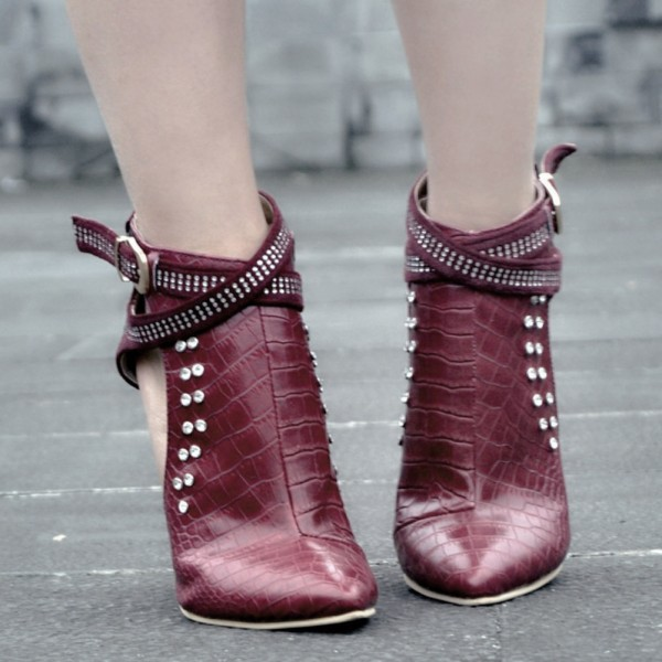 Maroon Stiletto Boots Crocodile Grain Rhinestone Fashion Boots image 3