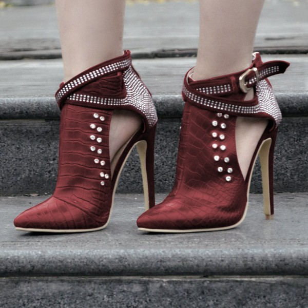 Maroon Stiletto Boots Crocodile Grain Rhinestone Fashion Boots image 1