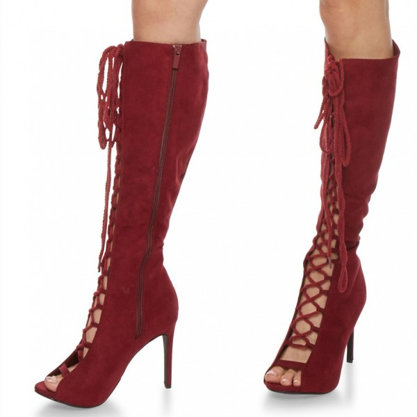 Maroon Long Boots Peep Toe Stiletto Heels Lace Up Boots image 1