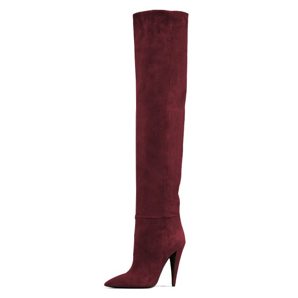 Maroon long Boots Pointy Toe Cone Heel Over-the-Knee Boots image 2