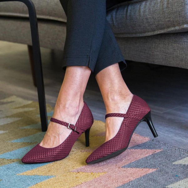 Maroon Mary Jane Pumps Pointy Toe Stiletto Heels Office Pumps image 1