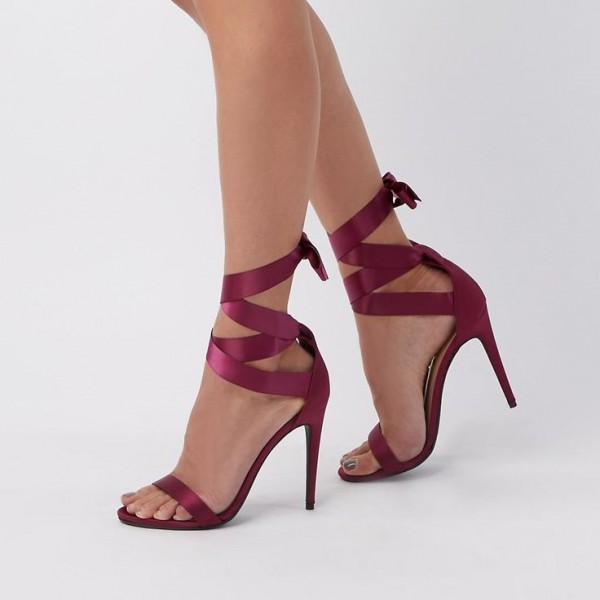 Maroon Open Toe Stiletto Heels Strappy Sandals image 1