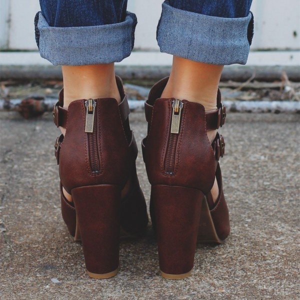 Women's Comfortable Vintage Brown Peep Toe Ankle Chunky Heel Boots image 2