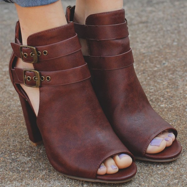 Women's Comfortable Vintage Brown Peep Toe Ankle Chunky Heel Boots image 4