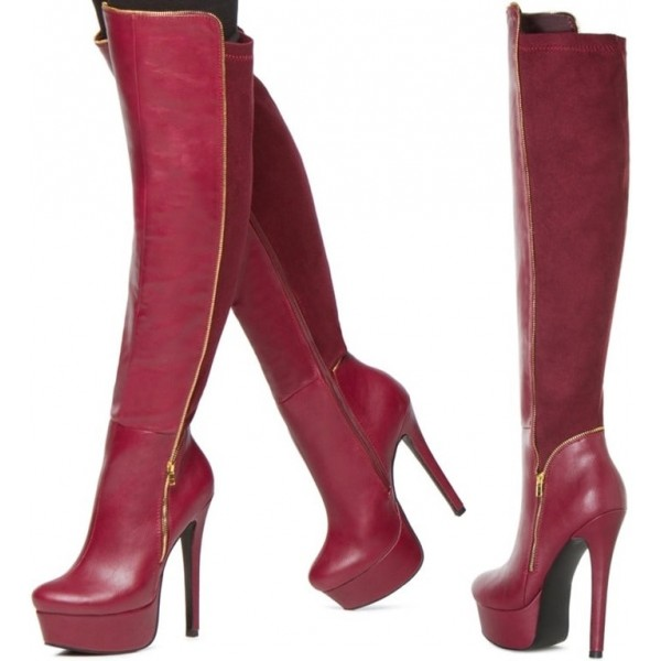 Women's Platform Knee High Stretch Boots in Dark Red image 1