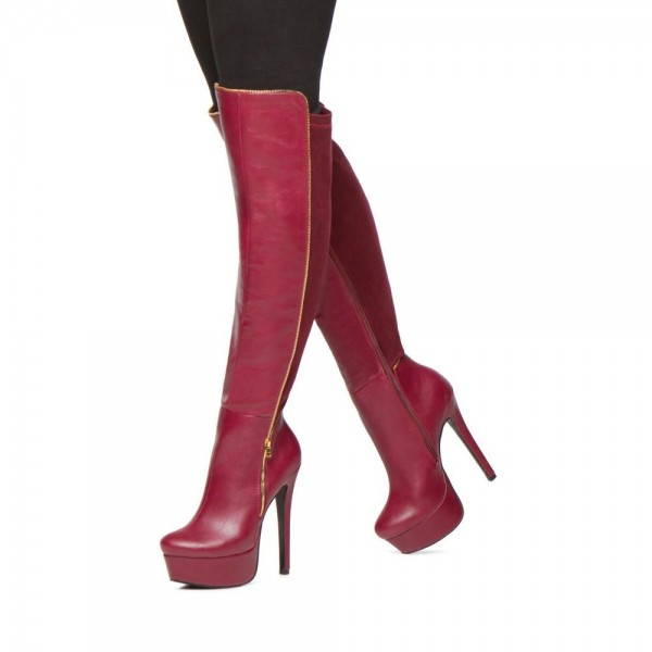 Women's Platform Knee High Stretch Boots in Dark Red image 2