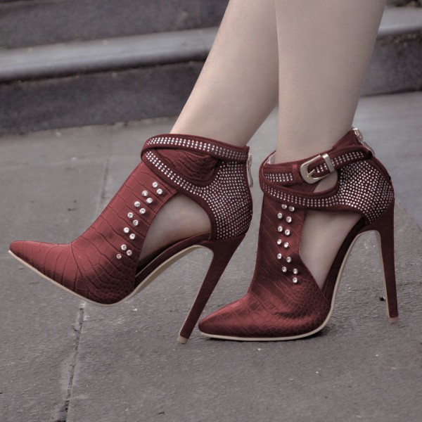 Maroon Stiletto Boots Crocodile Grain Rhinestone Fashion Boots image 4