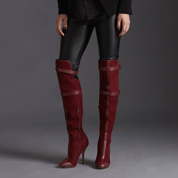 Maroon Stiletto Boots Suede Knee-high Boots for Women image 1
