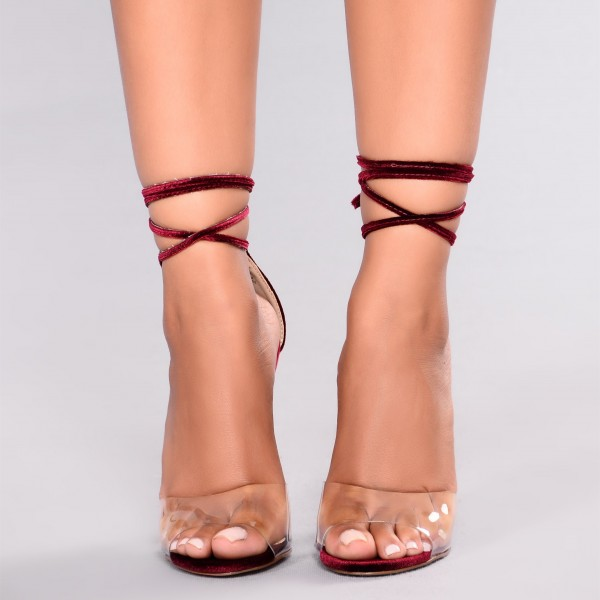 Maroon Strappy Sandals Open Toe Stiletto Heels Clear Sandals image 3