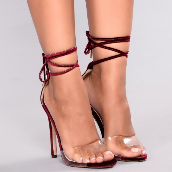 Maroon Strappy Sandals Open Toe Stiletto Heels Clear Sandals image 2