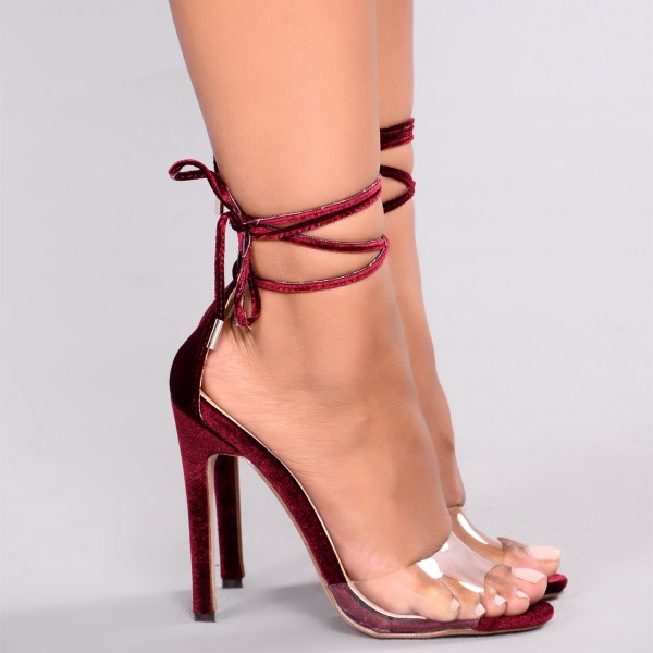 Maroon Strappy Sandals Open Toe Stiletto Heels Clear Sandals image 4