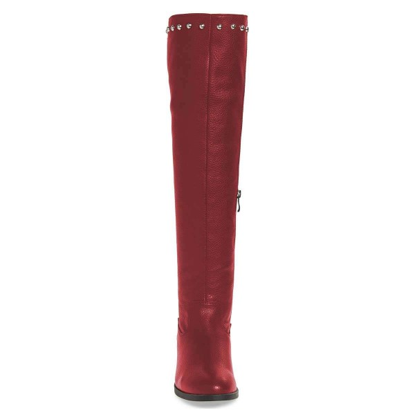 Maroon Studs Round Toe Flat Long Boots Knee High Boots image 2