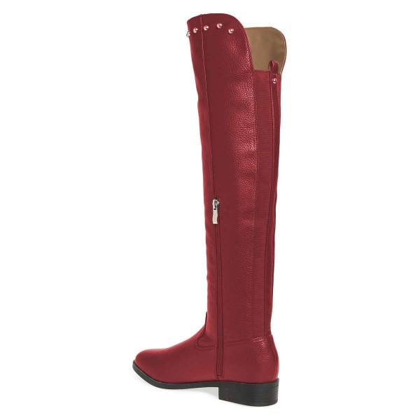 Maroon Studs Round Toe Flat Long Boots Knee High Boots image 5