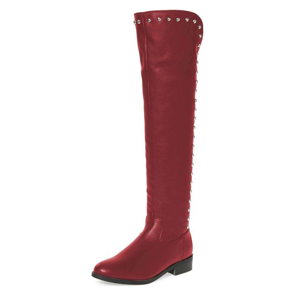 Maroon Studs Round Toe Flat Long Boots Knee High Boots image 1