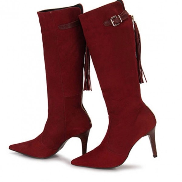 Maroon Suede Pointy Toe Tassels Stiletto Boots Fashion Mid Calf Boots image 1
