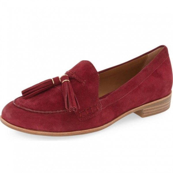 Maroon Tassel Suede Shoes Round Toe Loafers for Women image 1