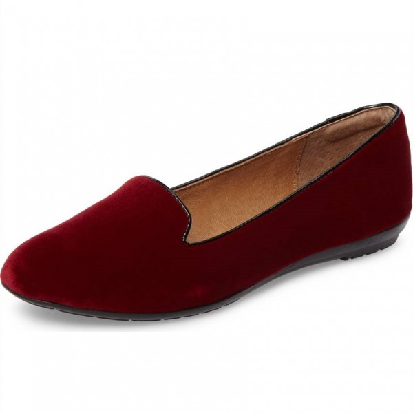 Maroon Velvet Comfortable Flats Round Toe Loafers for Women image 1