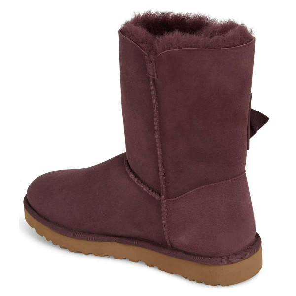 Maroon Winter Boots Flat Suede Comfy Mid Calf Snow Boots US Size 3-15 image 2