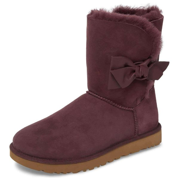 Maroon Winter Boots Flat Suede Comfy Mid Calf Snow Boots US Size 3-15 image 3