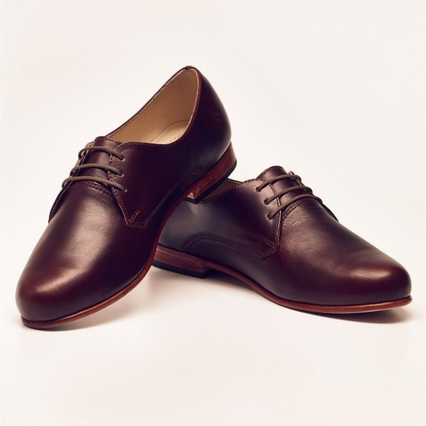 Maroon Women's Oxfords Lace up Flats Vintage Dress Shoes image 3