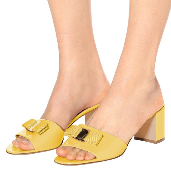 Mellow Yellow Block Heel Sandals Open Toe Mule with Bow image 4