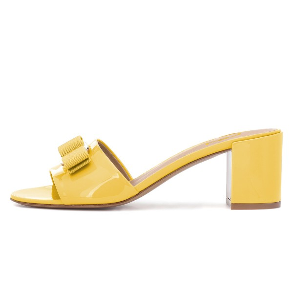 Mellow Yellow Block Heel Sandals Open Toe Mule with Bow image 2