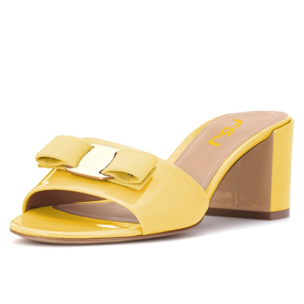 Mellow Yellow Block Heel Sandals Open Toe Mule with Bow image 1