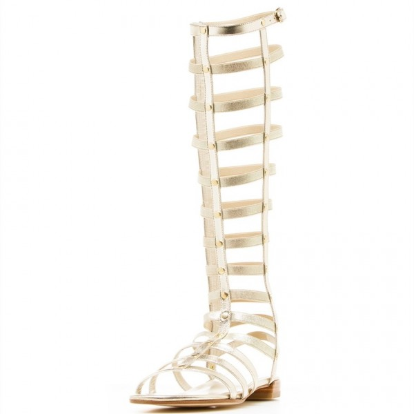 Silver Gladiator Sandals Knee-High Comfortable Flats for Women image 2