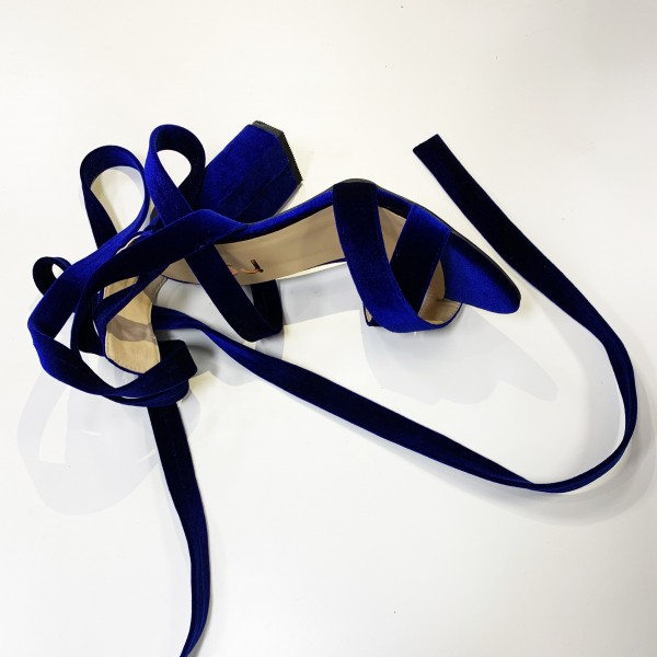 Midnight Blue Strappy Sandals Chunky Heel Lace up Velvet Heels image 2