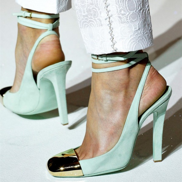 Turquoise Heels Slingback Pumps Strappy Chunky Heels with Metal Toe image 1
