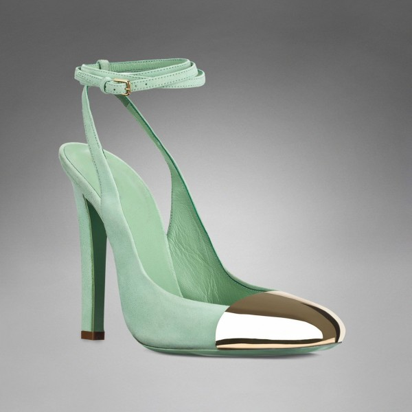 Turquoise Heels Slingback Pumps Strappy Chunky Heels with Metal Toe image 5