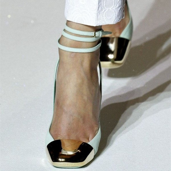 Turquoise Heels Slingback Pumps Strappy Chunky Heels with Metal Toe image 4