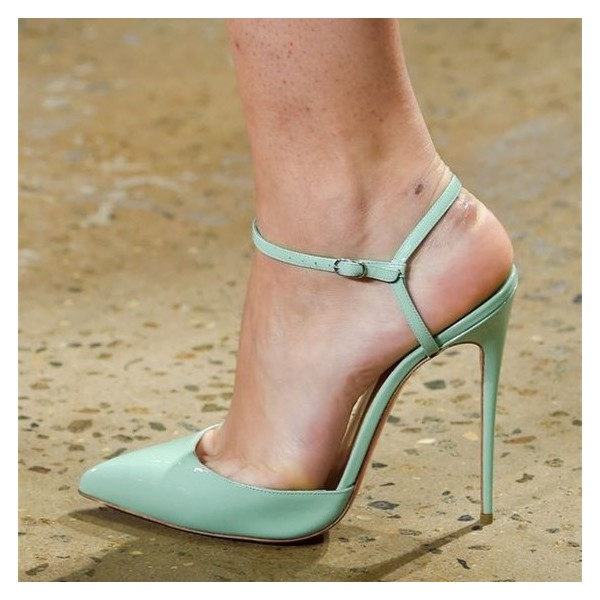 Mint Green Slingback Heels Closed Toe Sandals Stiletto Heels image 1