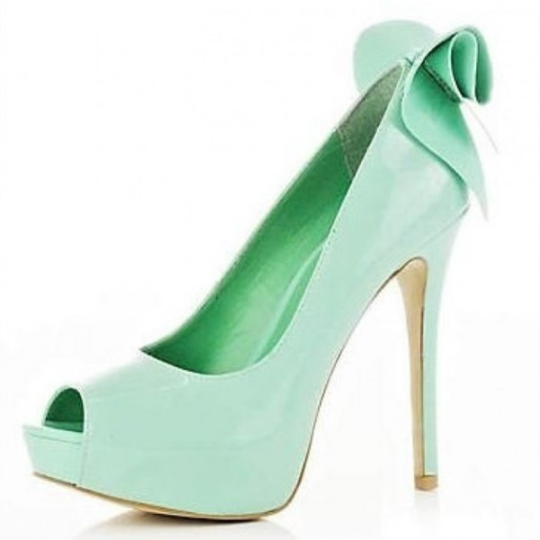 Mint Green Stiletto Heels Peep Toe Platform Pumps with Bow image 1
