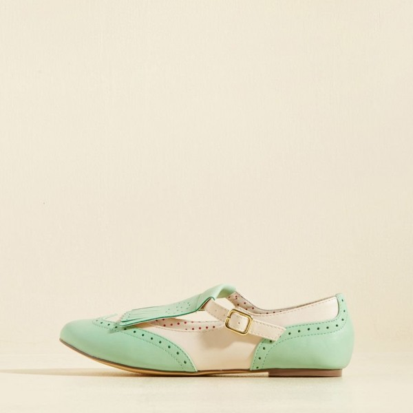 Mint Green Women's Oxfords Fringe Hollow out Comfortable Flats image 1