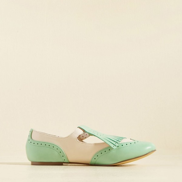 Mint Green Women's Oxfords Fringe Hollow out Comfortable Flats image 3
